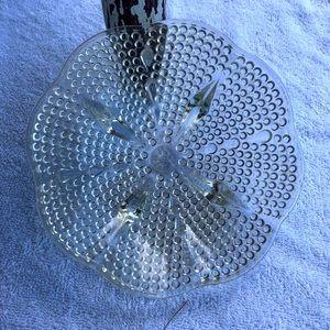 """Vintage Bowl Pedestal Legs 6"""" dia Clear Glass Dots"""